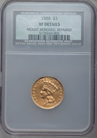 1888 $3 -- Mount Removed, Repaired -- NCS. XF Details. NGC Census: (0/526). PCGS Population (3/661). Mintage: 5,000. Num...