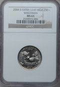 Statehood Quarters, 2004-D 25C Wisconsin Extra Leaf High MS65 NGC. PCGS Population(780/151). Numismedia Wsl. Price for pro...