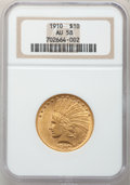 Indian Eagles: , 1910 $10 AU58 NGC. NGC Census: (522/4734). PCGS Population(536/3219). Mintage: 318,500. Numismedia Wsl. Price for problem ...