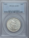 Seated Half Dollars: , 1869 50C AU55 PCGS. PCGS Population (17/71). NGC Census: (11/57).Mintage: 795,300. Numismedia Wsl. Price for problem free ...