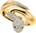 Estate Jewelry:Bracelets, Diamond, Ruby, Gold Snake Bracelet. ...