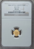California Fractional Gold: , 1864 50C Liberty Octagonal 50 Cents, BG-918, R.4, MS63 NGC. NGCCensus: (1/0). PCGS Population (17/6). (#10776)...