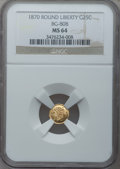 California Fractional Gold: , 1870 25C Liberty Round 25 Cents, BG-808, R.3, MS64 NGC. NGC Census:(11/18). PCGS Population (61/64). (#10669)...