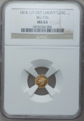 California Fractional Gold, 1874 1/7 25C Liberty Octagonal 25 Cents, BG-776, Low R.5, MS63 NGC.NGC Census: (3/1). PCGS Population (18/2). (#10603)...