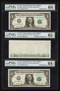 "Error Notes:Blank Reverse (<100%), Partially Blank Back Error with ""Bookends"" Fr. 1909-K $1 1977Federal Reserve Note. PMG Graded.. ... (Total: 3 notes)"