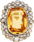 Estate Jewelry:Rings, Topaz, Diamond, Platinum-Topped Gold Ring, early 20th century. ...