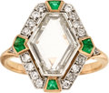 Estate Jewelry:Rings, Diamond, Emerald, Platinum-Topped Gold Ring, Early 20th century....