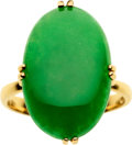 Estate Jewelry:Rings, Jadeite Jade, Gold Ring. ...