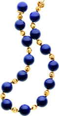 Estate Jewelry:Necklaces, Lapis Lazuli, Gold Necklace. ...