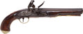 Handguns:Muzzle loading, Large Brass Mounted British Flintlock Holster Pistol C. 1800 withMilitary Markings....