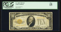 Small Size:Gold Certificates, Fr. 2400 $10 1928 Gold Certificate. PCGS Fine 15.. ...