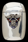 Silver Smalls, A GORHAM SILVER AND ENAMEL FRATERNITY MATCH SAFE . GorhamManufacturing Co., Providence, Rhode Island, 1909. Marks:(lion-an...