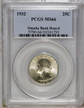 Washington Quarters: , 1932 25C MS66 PCGS. Ex: Omaha Bank Hoard. Solidly struck withpleasing luster and a hint of rose and gold on each side. Thi...