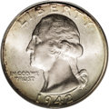 Washington Quarters: , 1942 25C MS67 PCGS. Mint State pieces of the 1942-P are relativelyabundant, coming from one of the highest mintages in the...