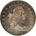 Early Half Dollars: , 1801 50C XF45 PCGS. O-101, R.3. Specialists know to look for themint-made small die blobs on the lower left reverse to ide...