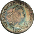 Early Half Dollars: , 1803 50C Small 3 AU50 NGC. O-104, R.3. Deep cobalt-blue andmauve-gray toning is intermixed over each side, with some under...