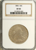 Early Half Dollars: , 1806 50C Pointed 6, No Stem XF45 NGC. O-109a, R.4. Khaki-gold andcream-gray visit this partly lustrous and problem-free Bu...