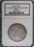 Early Half Dollars: , 1806 50C 6 Over Inverted 6 VF25 NGC. O-112, R.4. Ex: Jules ReiverCollection. Aqua, plum, and tangerine patina covers the s...