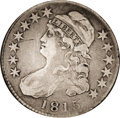 Bust Half Dollars: , 1815/2 50C VF25 NGC. O-101, R.2. At the VF25 level, the 1815 halfis accessible to a wider group of collectors. This date i...