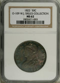 Bust Half Dollars: , 1822 50C MS62 NGC. Ex: W.J. Skiles Collection. O-109, R.2. Avariety that is immediately attributable due to the star point...