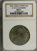 Bust Half Dollars: , 1832 50C Large Letters MS61 NGC. O-101a, R.1. A prominent die breakfrom the leaves to the left (facing) wing is diagnostic...