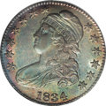 Bust Half Dollars: , 1834 50C Large Date, Large Letters MS64 PCGS. O-101, R.1. Rose-red,blue-green, and gold dominate this shimmering and unble...