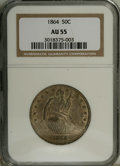 Seated Half Dollars: , 1864 50C AU55 NGC. Nicely detailed for the grade, with faintlyprooflike fields and a coating of mint-green and pale lilac ...