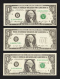 Error Notes:Error Group Lots, Fr. 1908-E $1 1974 Federal Reserve Note. Crisp Uncirculated;. Fr.1909-B $1 1977 Federal Reserve Note. Extremely Fine;. Fr. 19...(Total: 3 notes)