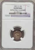 Seated Dimes: , 1857-O 10C -- Improperly Cleaned -- NGC Details. AU. NGC Census:(3/141). PCGS Population (7/118). Mintage: 1,540,000. Numi...