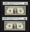 Error Notes:Shifted Third Printing, Fr. 1901-H $1 1963A Federal Reserve Notes. Two Consecutive Examples. PMG Choice About Unc 58 EPQ.. ... (Total: 2 notes)