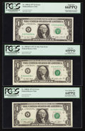 Error Notes:Error Group Lots, Fr. 1908-K $1 1974 Federal Reserve Note. PCGS Very Choice New64PPQ; Fr. 1909-K $1 1977 Federal Reserve Note. PCGS Gem New 66P...(Total: 3 notes)