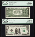 Error Notes:Ink Smears, Fr. 1909-K $1 1977 Federal Reserve Notes. Two Consecutive Examples.PCGS Choice New 63PPQ-Gem New 65PPQ.. ... (Total: 2 notes)