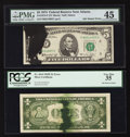 Error Notes:Ink Smears, Fr. 1614 $1 1935E Silver Certificate. PCGS Very Fine 35;. Fr.1973-F $5 1974 Federal Reserve Note. PMG Choice Extremely Fi...(Total: 2 notes)