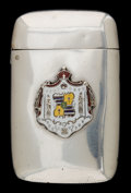 Silver Smalls, A GORHAM SILVER AND ENAMEL MATCH SAFE WITH ROYAL HAWAIIAN COAT OFARMS . Gorham Manufacturing Co., Providence, Rhode Island,...