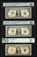 Error Notes:Shifted Third Printing, Fr. 1614 $1 1935E Silver Certificate. PCGS Apparent Extremely Fine 45; Fr. 1930-E $1 2003A Federal Reserve Notes. Two Examples... (Total: 3 notes)