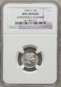 Barber Dimes: , 1905-S 10C -- Improperly Cleaned -- NGC Details. UNC. NGC Census:(0/110). PCGS Population (3/136). Mintage: 6,855,199. Num...