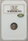 Seated Half Dimes, 1862 H10C MS66 NGC. CAC Gold....