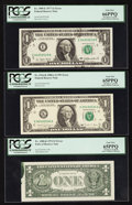 Error Notes:Ink Smears, Fr. 1908-K $1 1974 Federal Reserve Note. PCGS Gem New 65PPQ;. Fr.1909-E $1 1977 Federal Reserve Note. PCGS Gem New 66PPQ;. Fr...(Total: 3 notes)