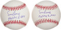Autographs:Baseballs, Ernie Banks Happy Birthday And Merry Xmas Singled Signed Balls LotOf 2....