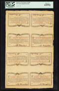 Colonial Notes:New York, New York March 5 , 1776 (Water Works) 8s Sheet of Eight PCGS Choice New 63PPQ.. ... (Total: 1 sheet)