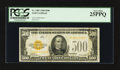 Small Size:Gold Certificates, Fr. 2407 $500 1928 Gold Certificate. PCGS Very Fine 25PPQ.. ...