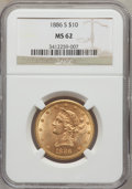 Liberty Eagles: , 1886-S $10 MS62 NGC. NGC Census: (1044/243). PCGS Population(636/257). Mintage: 826,000. Numismedia Wsl. Price for problem...