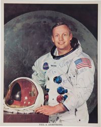 Neil Armstrong Signed Apollo 11 White Spacesuit Color Photo