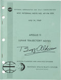 Transportation:Space Exploration, Buzz Aldrin Signed Apollo 11 Lunar Trajectory Notes NASABook....