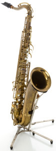 Musical Instruments:Horns & Wind Instruments, Circa 1945 Buescher Aristocrat Brass Tenor Saxophone, Serial #303741....