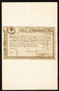 Colonial Notes:Massachusetts , State of Massachusetts Bay Six Percent Treasury Certificate £12, 6sDec. 1, 1777 Anderson MA 12 Very Fine-Extremely Fine.. ...