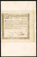 Colonial Notes:Massachusetts , State of Massachusetts Bay Six Percent Treasury Certificate £97,18s Dec. 1, 1777 Anderson MA 10 Very Fine.. ...