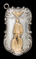 Silver Smalls:Match Safes, AN AMERICAN SILVER, GOLD AND SILVER GILT MATCH SAFE . Makerunknown, American, circa 1880. Unmarked. 2-1/4 inches high (5.7 ...