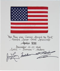 Apollo 8 Flown American Flag on a Crew-Signed Mat Directly from the Personal Collection of Mission Command Module Pilot...