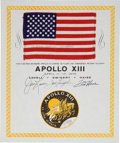 Transportation:Space Exploration, Apollo 13 Flown American Flag on a Crew-Signed Certificate, Directly from the Personal Collection of Mission Commander James L...